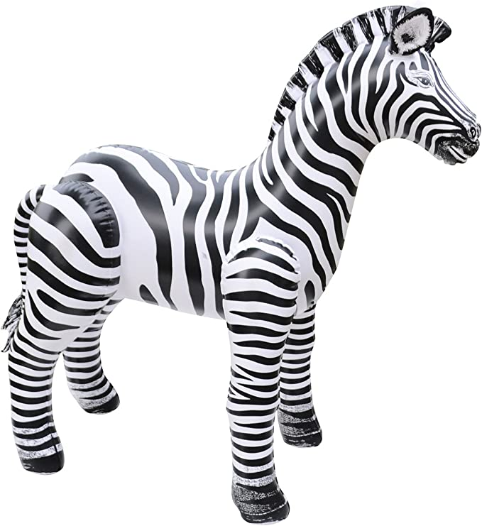 118cm Zebra Stick Inflatable Blow Up Jungle Animal Gifts Playing Party Bag Toy