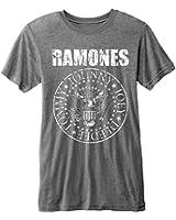 Rock Icon - Ramones Herren Vintage T-Shirt - Seal Logo (Grau) (S-XL)