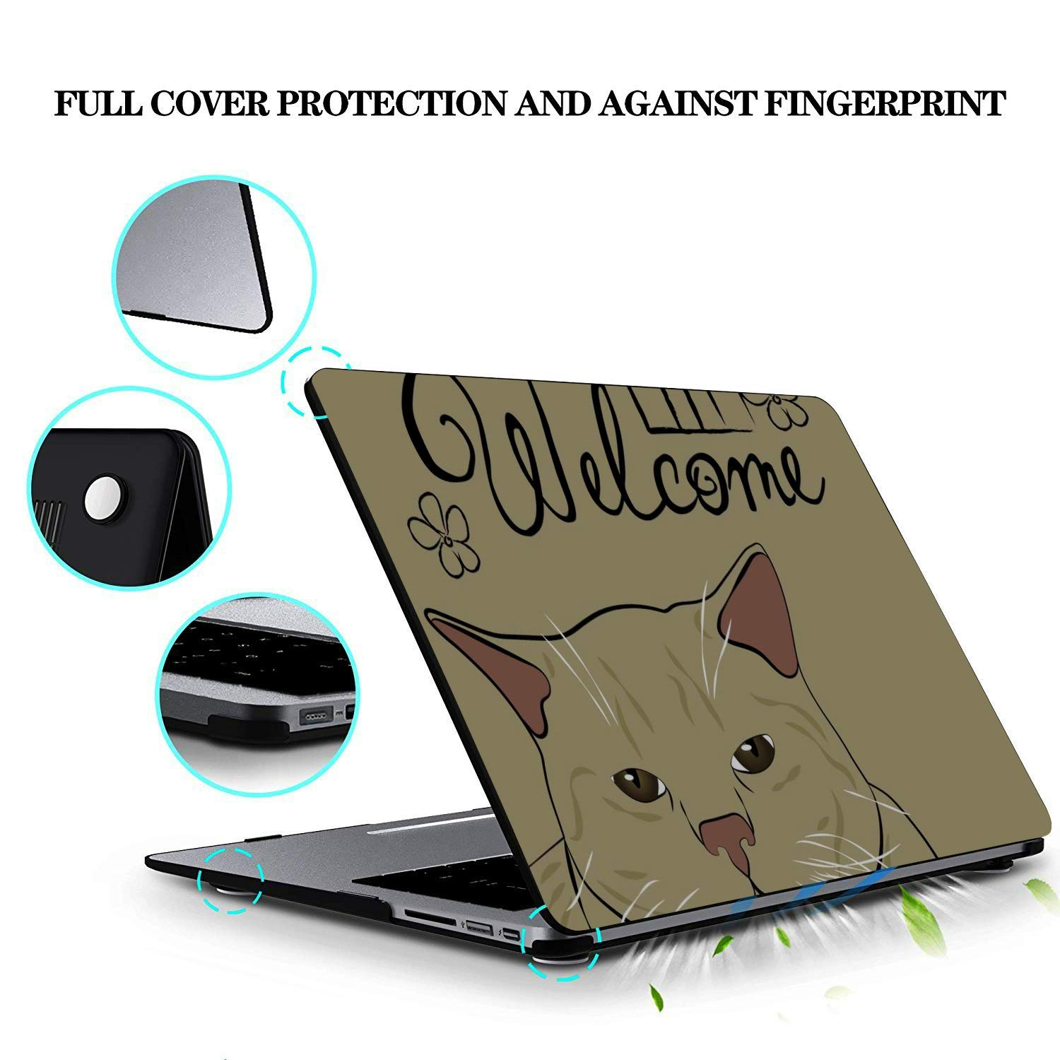 15 Inch Laptop Case Cartoon Cute Cat with English Words Plastic Hard Shell Compatible Mac Air 11 Pro 13 15 MacBook Laptop Cover Protection for MacBook 2016-2019 Version
