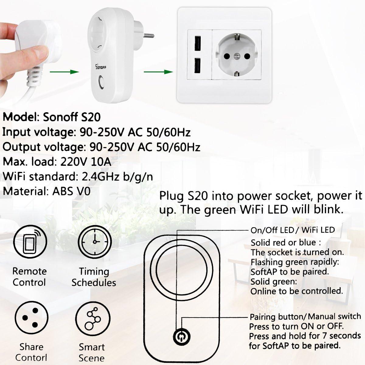 Sonoff S20 (Versión de Actualización) WIFI Enchufe Inteligente ...