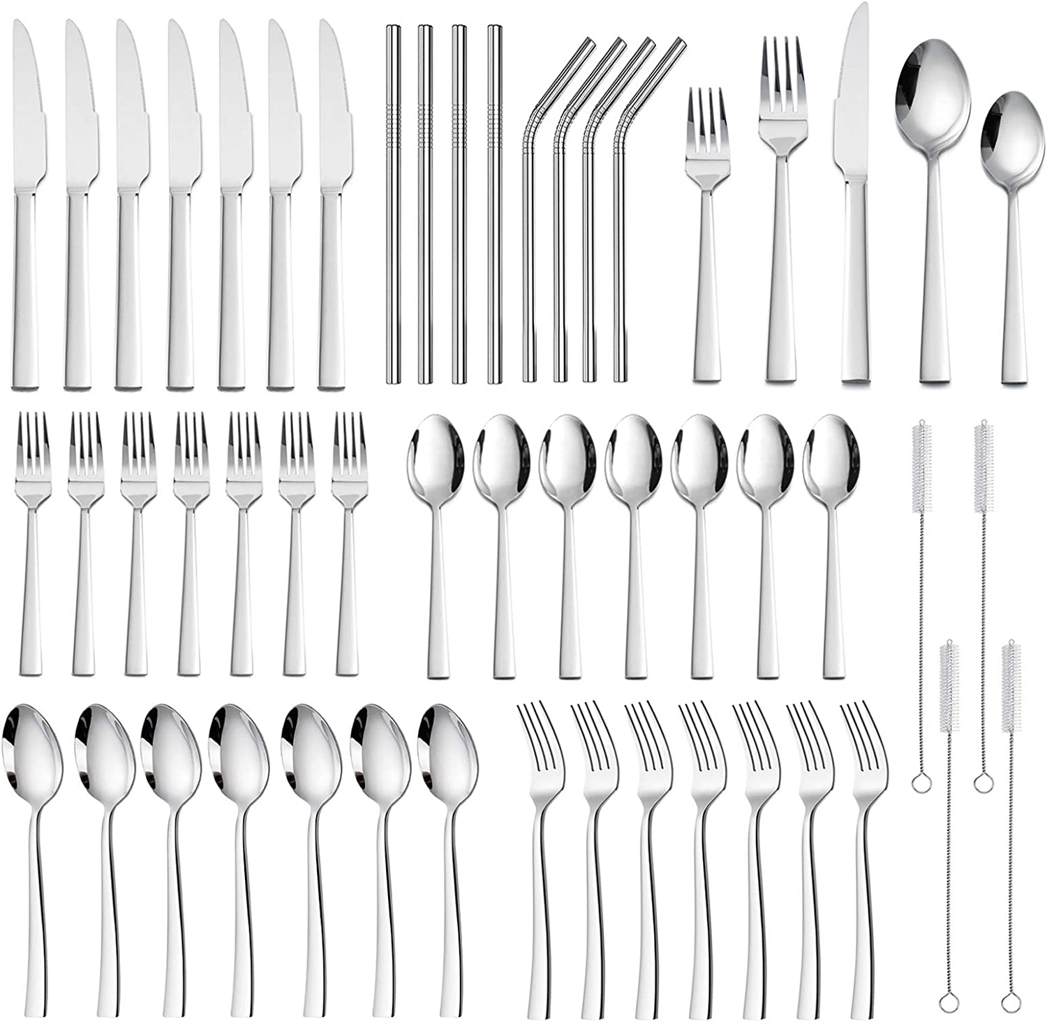 40 Pieces Silverware Set, HaWare Stainless Steel Modern Elegant Stylish Flatware Eating Uensils, for Kitchen Home Restaurant, Mirror Polished & Dishwasher Safe(52 PCS)