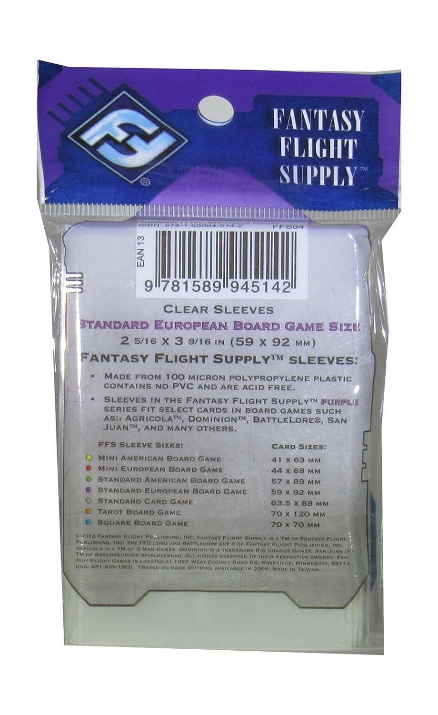 Fantasy Flight Games Fantasy flight 50.x transparente estándar tarjeta europea mangas 59.x 91.mm games ffg morado etiqueta, Color clear std european ...