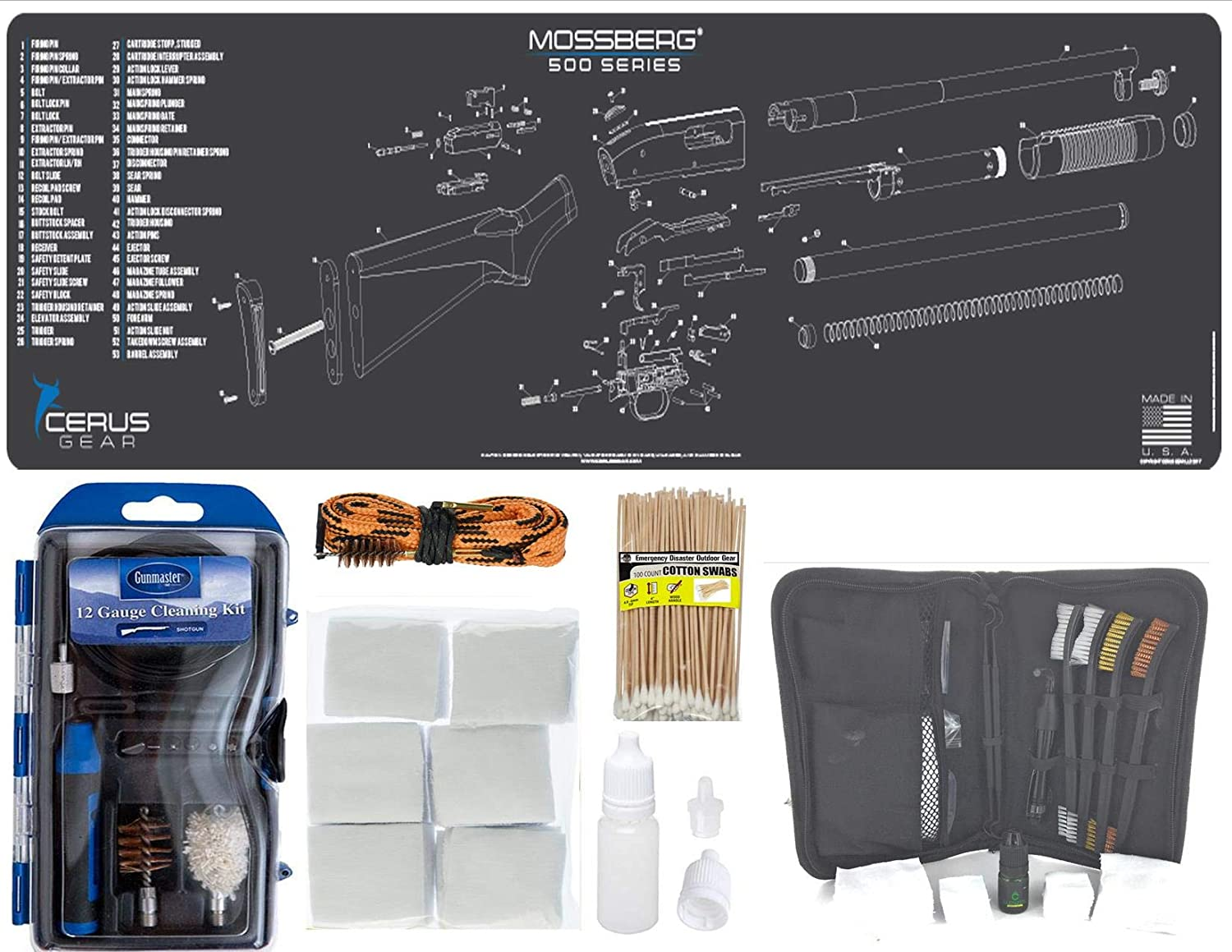 """EDOG Mossberg Shotgun 30 Pc Cleaning Essentials Kit Schematic (Exploded View) 14x48 Padded Gun Work Surface Protector Mat GunMaster 13 PC 12 GA & 15 PC Tac Book w Bore Snake Swabs 3""""Patches"""