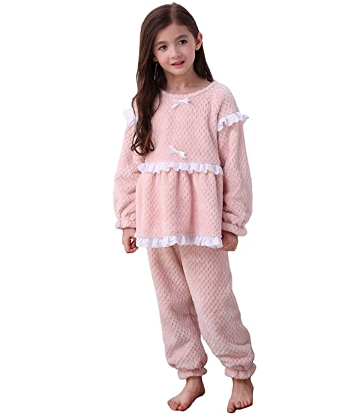 Bwiv Niñas Pijama Conjuntos Bilaterales Franela Niños Mangas Largas Rosado Altura 160cm