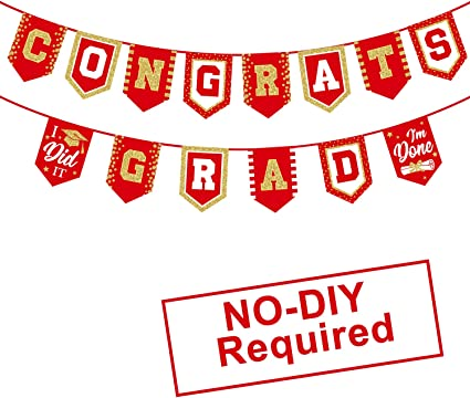 Amazon Com 2020 Red Graduation Banner No Diy Required Red Graduation Party Supplies Decorations Grad Banner For College High School Party Red Congrats Grad Health Personal Care