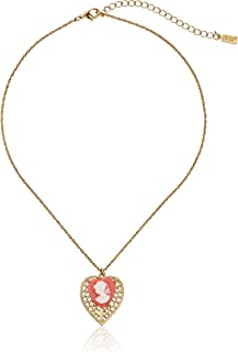 product image for 1928 Jewelry Gold-Tone Pink Cameo Heart Overlay Filigree Adjustable Pendant Necklace, 16""