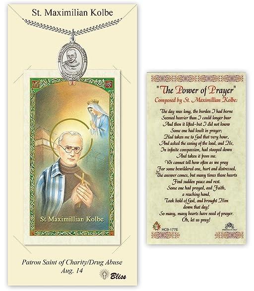 Amazon Pewter Saint Maximilian Kolbe Medal With Laminated Holy
