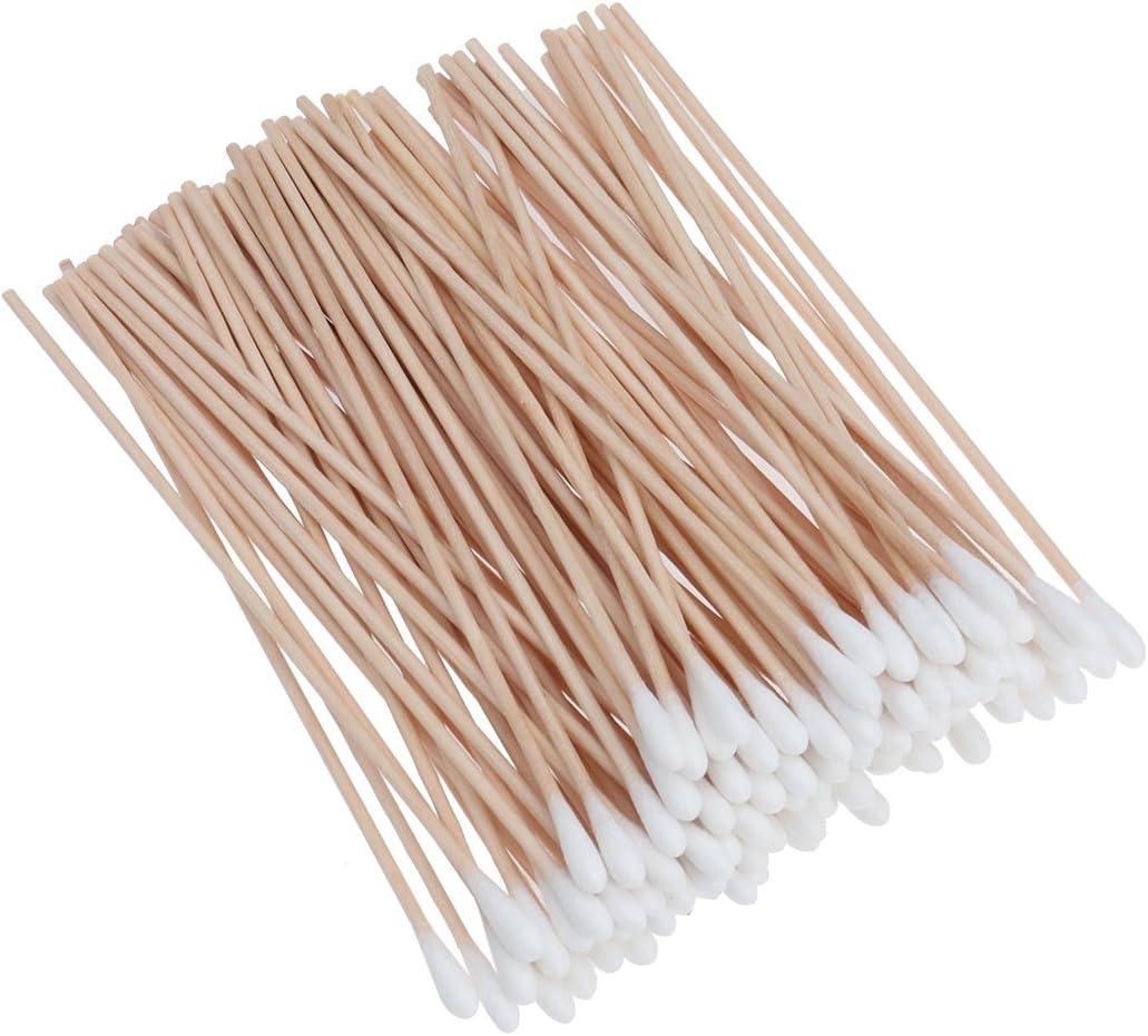 ROSENICE 100 piezas Bastoncillo de algod/ón con manijas de madera largas / Aplicador con punta de algod/ón