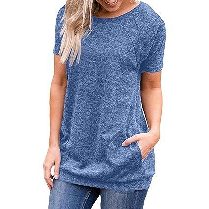 Damen T-Shirt Forh Sommer Casual Kurzarm Tops Lose Blusen Tuniken mit Taschen Frauen Rundhals Hemd Sweatshirt Oberteil Basic