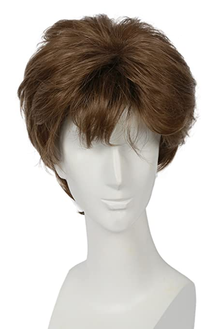 Peluca corta para hombre, resistente al calor, pelo sintético, rizado, disfraz de