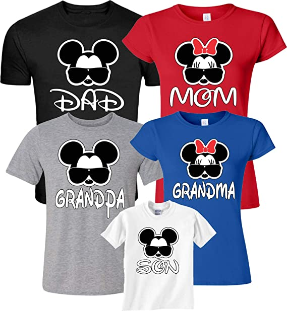 0b878267 Dad Mom Glasses Family Vacation Mickey & Minnie Matching Shirts Xs Youth ...