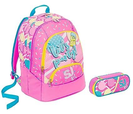 metà fuori 87d46 e76d1 Sj Gang Zaino Scuola Tondo Maxi Bambina Rosa Azzurro - 28 lt ...