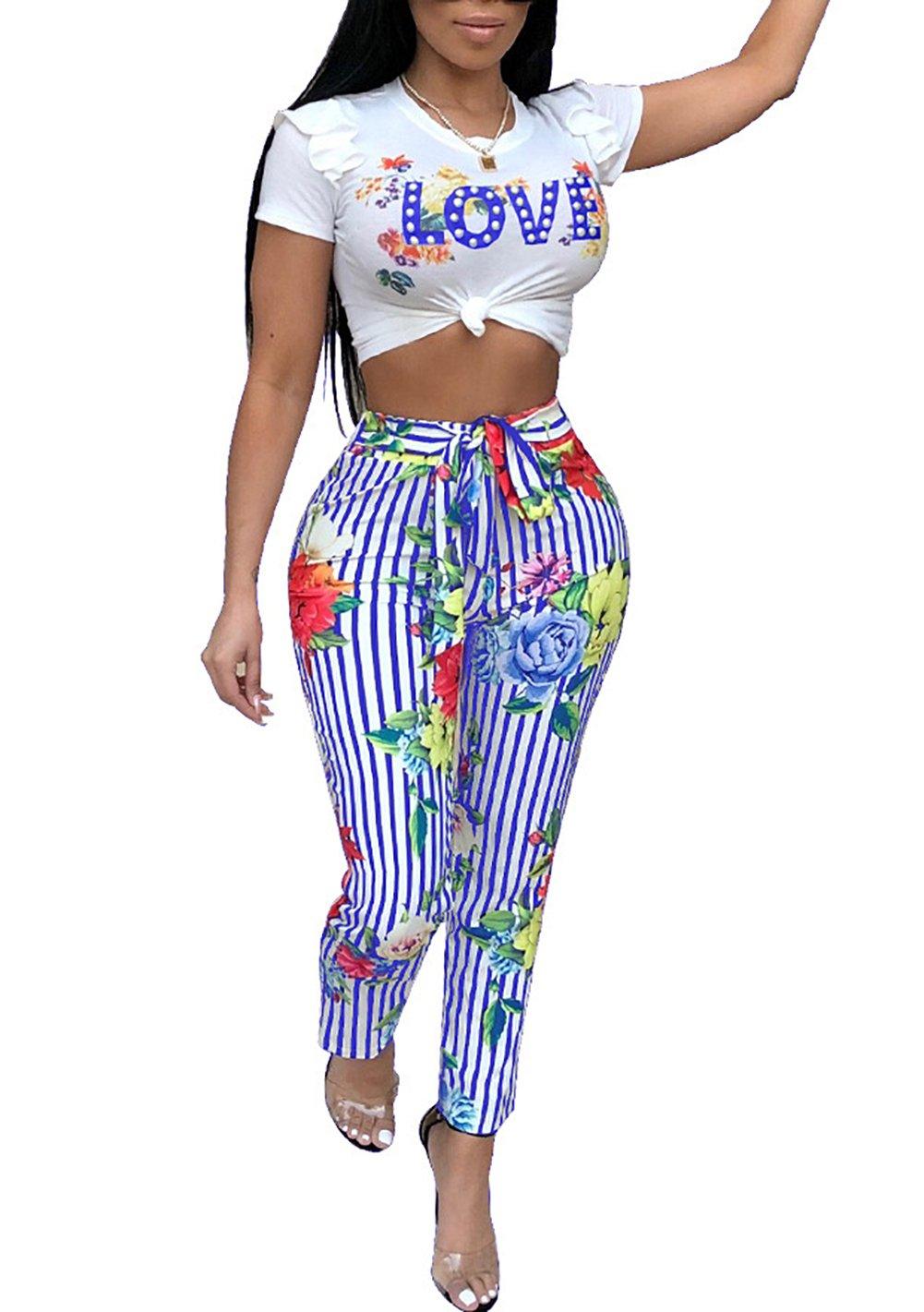 Voghtic Women Summer Love Letter Crop Top Long Stripe Pants 2 Pieces Outftis Tracksuit