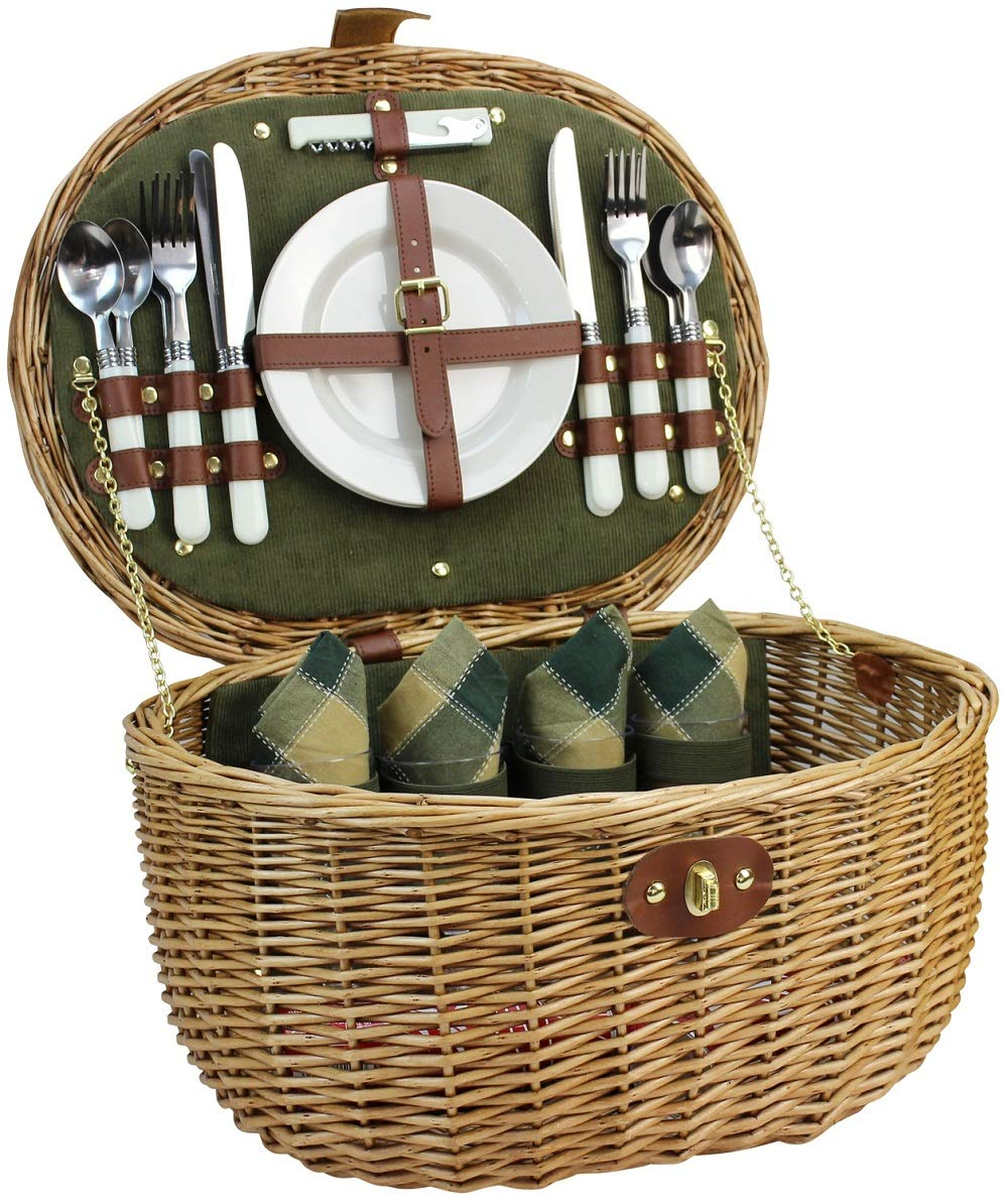 Willow Picnic Basket for 4 Persons with Service Set, Natural Safe Wicker Hamper Best Gift for Father Mother by HappyPicnic