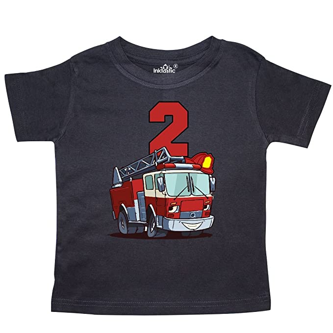 2cf375ed3 Amazon.com: inktastic - 2nd Birthday Fire Truck Toddler T-Shirt ...