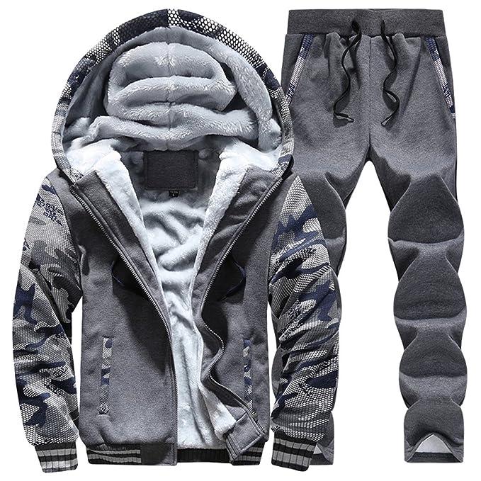 72fd24e0785 MANLUODANNI Men s Sport Fleece Jogsuit Set Tracksuit Thick Jacket and Pant  Dark Gray M