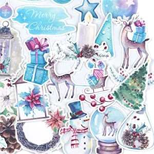 Dreamy DIY Christmas Sticker and Winter Nature Decals/Cute Reindeers Snowman Sticker for Card Making, Crafts and Water Bottle/Holiday Decor Decals for Your Scrapbook, Planners and Bullet Journals