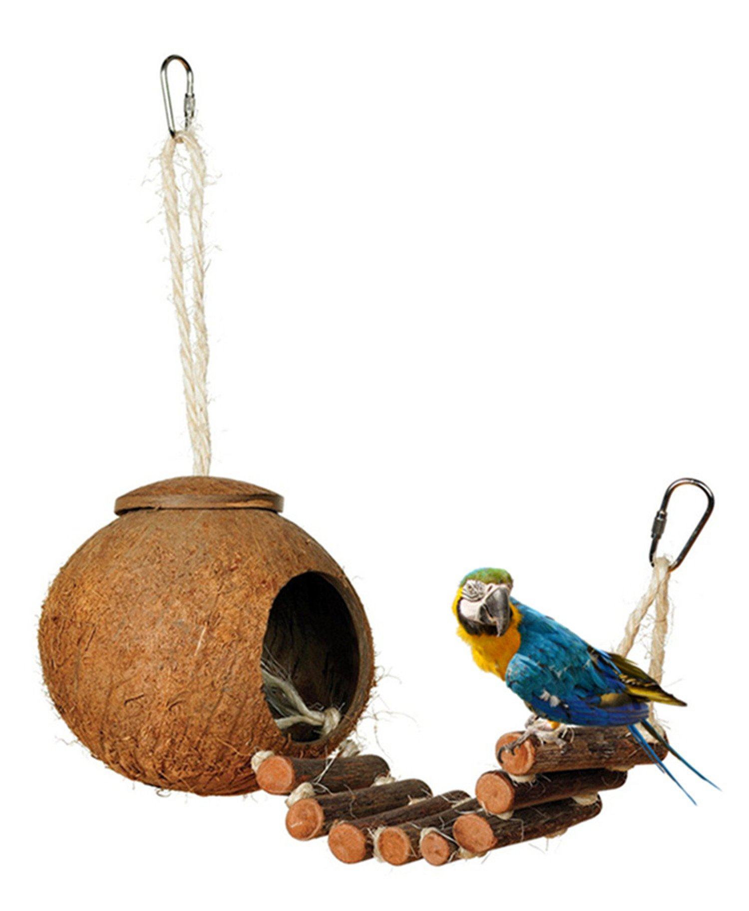 DEHEOBI Parrot Toy,Natural Coconut Shell Bird Cage with Hanging Loop Hideaway Ladder