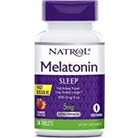 Natrol Melatonin Fast Dissolve Tablets, Helps You Fall Asleep Faster, Stay Asleep Longer, Easy to take, Dissolves in Mouth, Faster Absorption, Strawberry Flavor, 5mg, 30 Count
