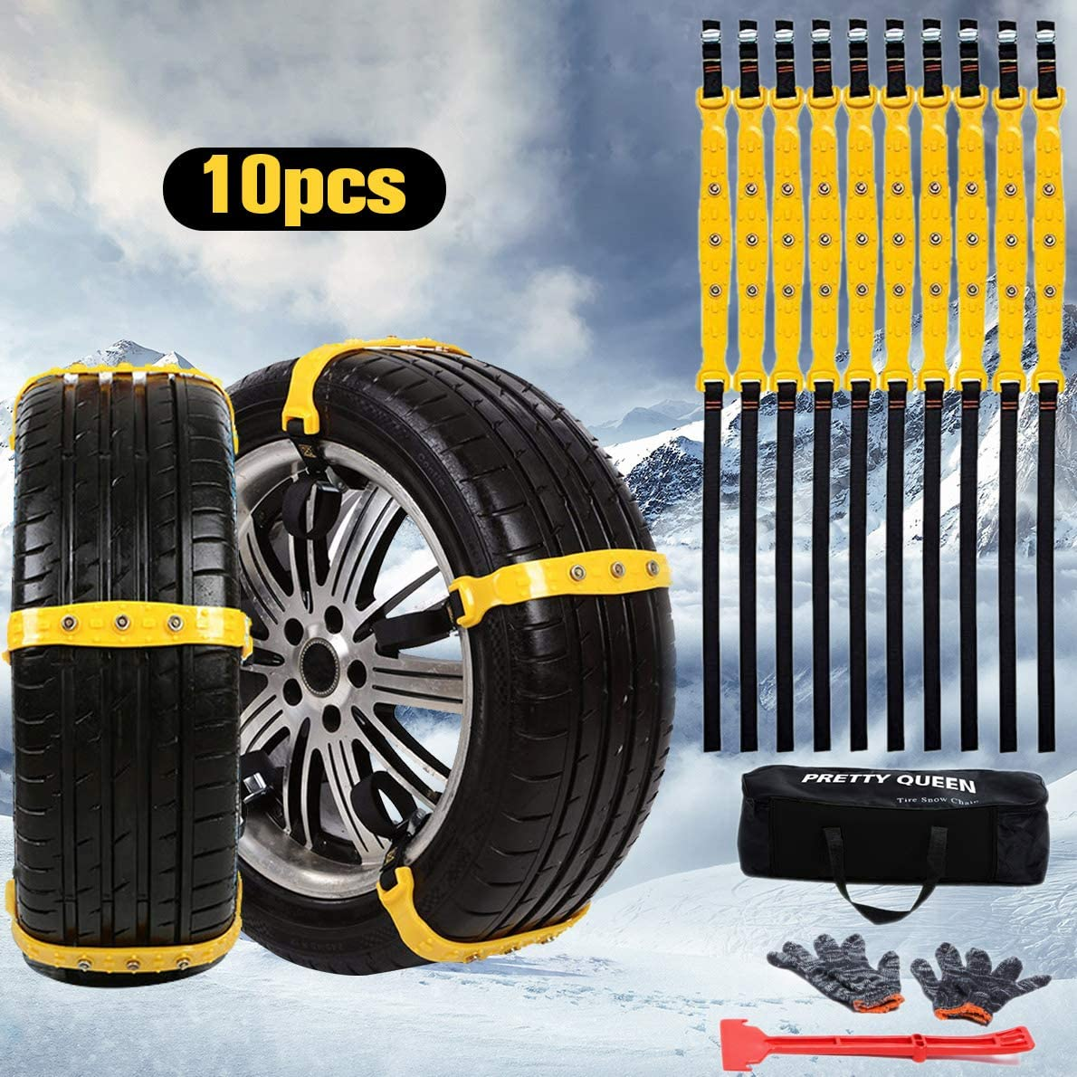 SuBleer Snow Chains for Car, Snow Chains for Tires, Tire Block Emergency Anti Slip Tire Chain for Trucks SUV Lawn Tractor 10 Pcs