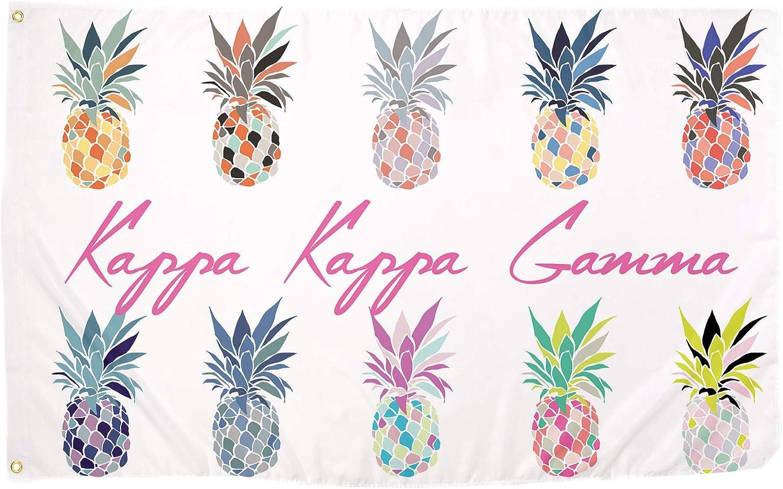 Kappa Kappa Gamma Pop Art Pineapple Sorority Flag Greek Letter Banner 3 feet x 5 feet Sign Decor KKG (Flag - Pineapple)