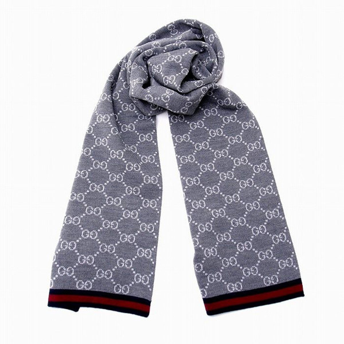 Gucci 'GG' Logo Unisex Wool Scarf with Blue/Red Web 325806, Graphite Grey by Gucci