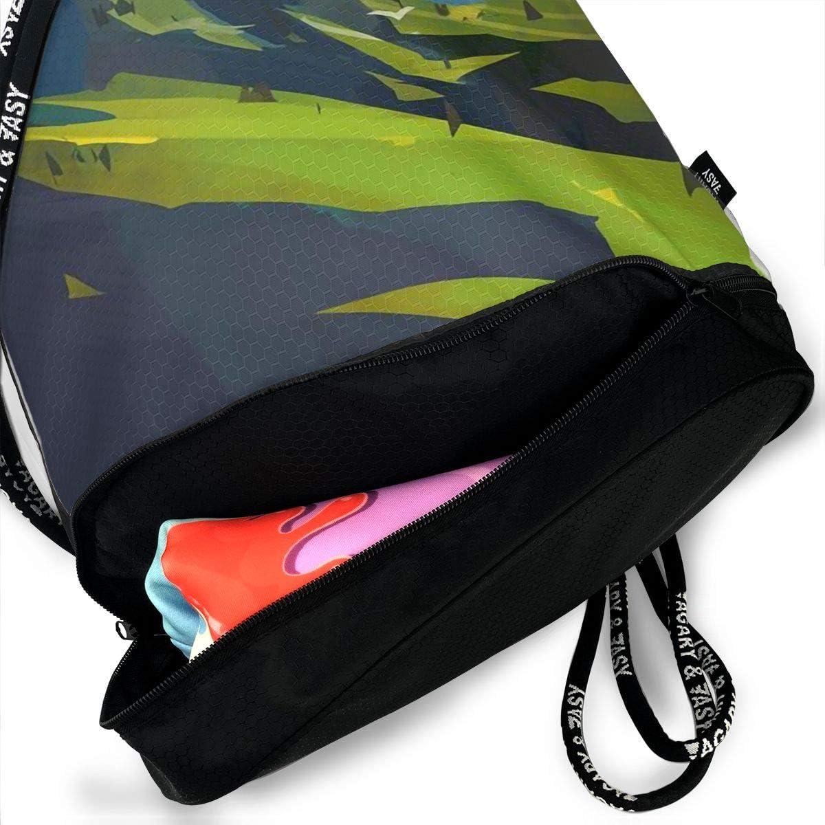 Drawstring Backpack Mountain Murals Rucksack