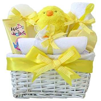 My First Yellow New Born Baby Shower Gifts Unisex Hamper Basket