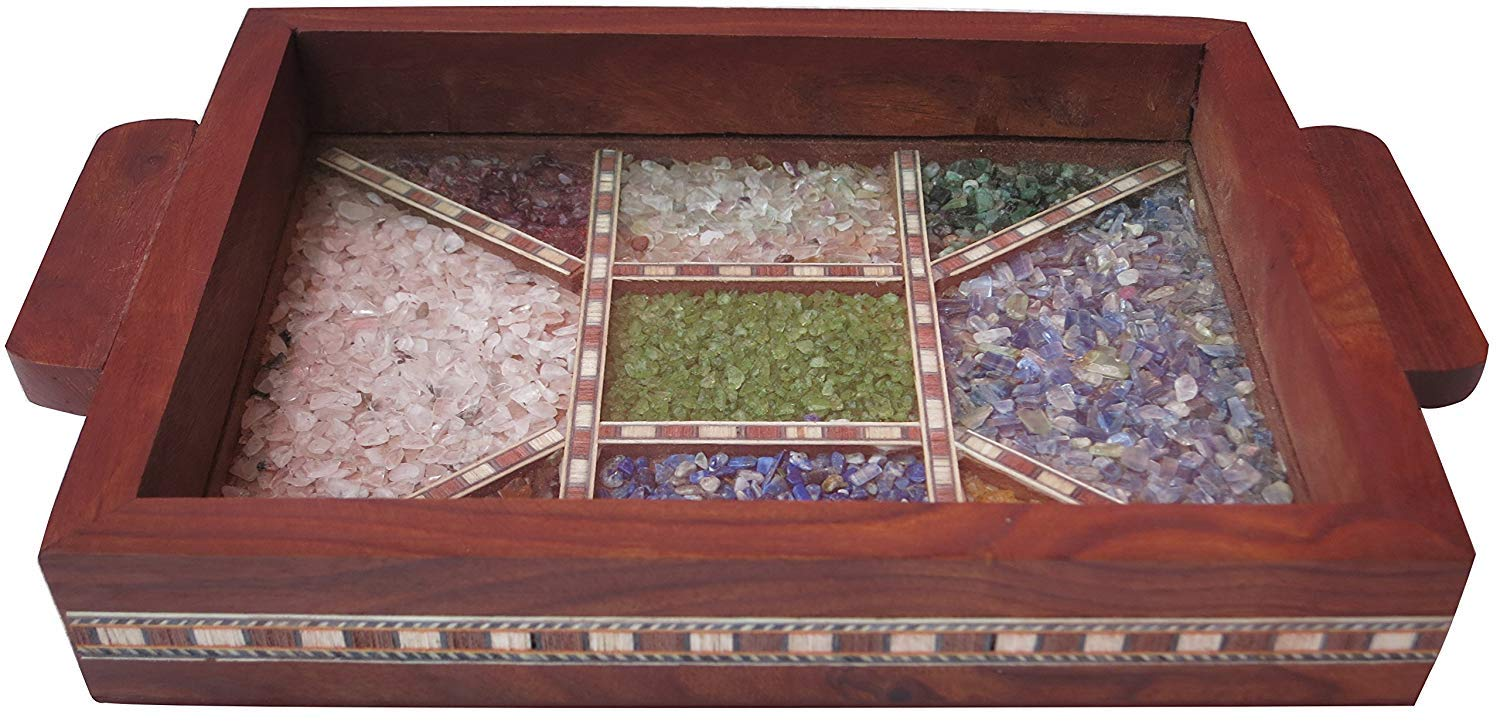 Handicraft Indian 7.5 x 5.5 Wooden Serving Tray with Crushed Gem Stones for Dining Tableware, Table Décor, Kitchen Serveware Dining Accessory, Breakfast Coffee Table Tray, Butler Serving Trays