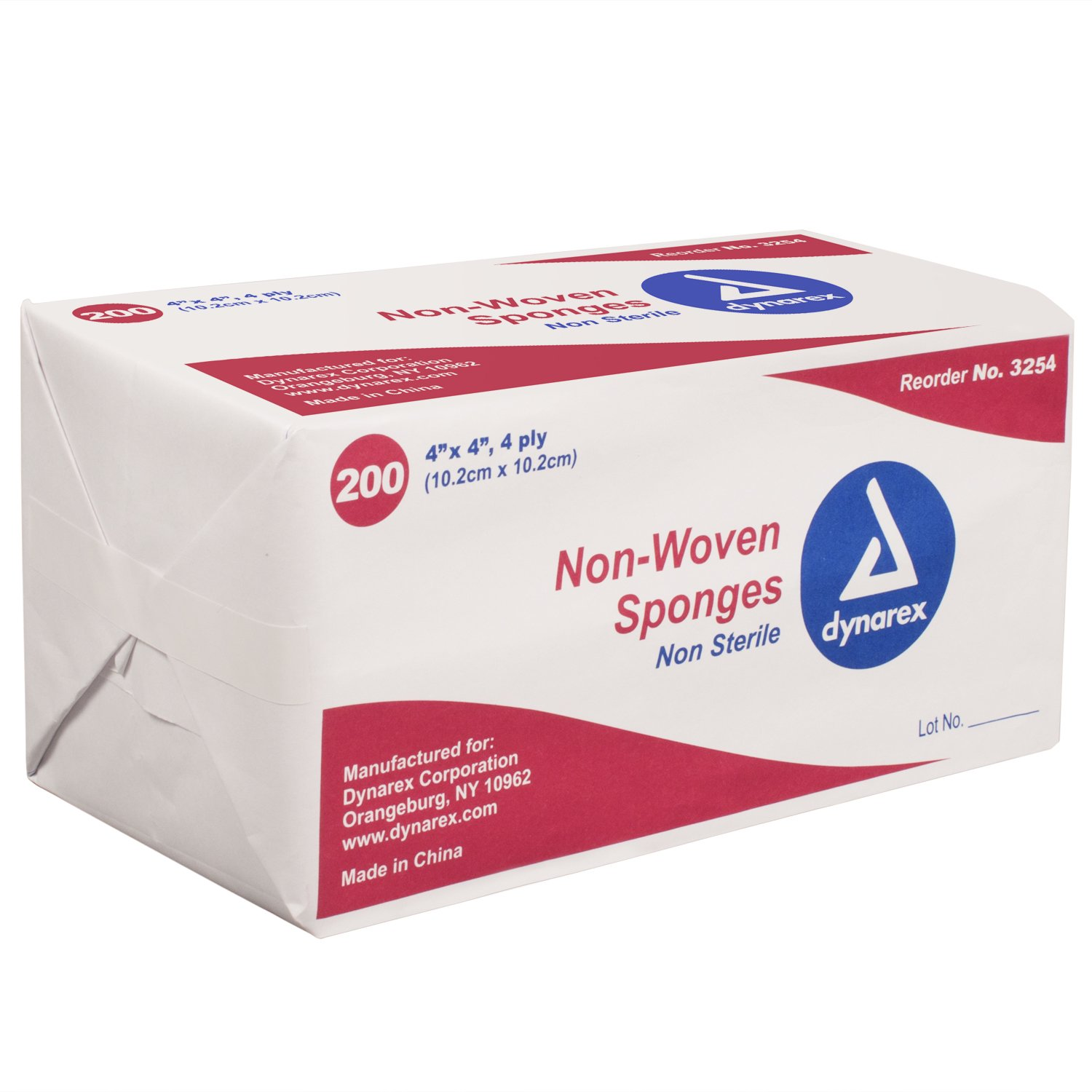 Dynarex 3254 Non-Woven Sponge 4 Ply, 200 Count - Pack of 10 by Dynarex