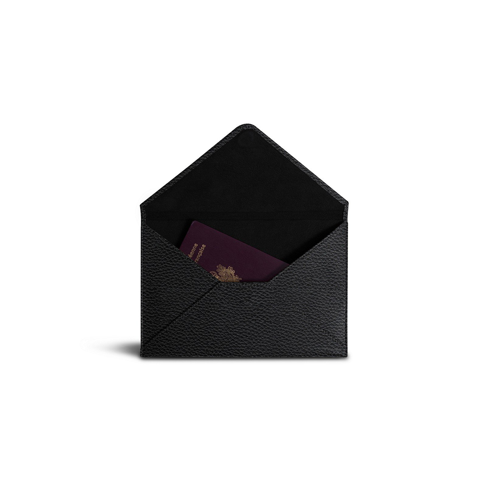 Lucrin - Medium envelope - Black - Granulated Leather