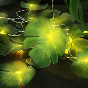 Ivenf 20 LEDs Monstera Leaf String Lights, 10 ft Hanging 2 Modes Artificial Palm Leaves Wall Hanging Vine Leaf Lights, Steady Summer Party Decorations for Outdoor and Indoor Supplies