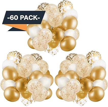 Amazon.com: Paquete de 60 globos dorados + globos de confeti ...