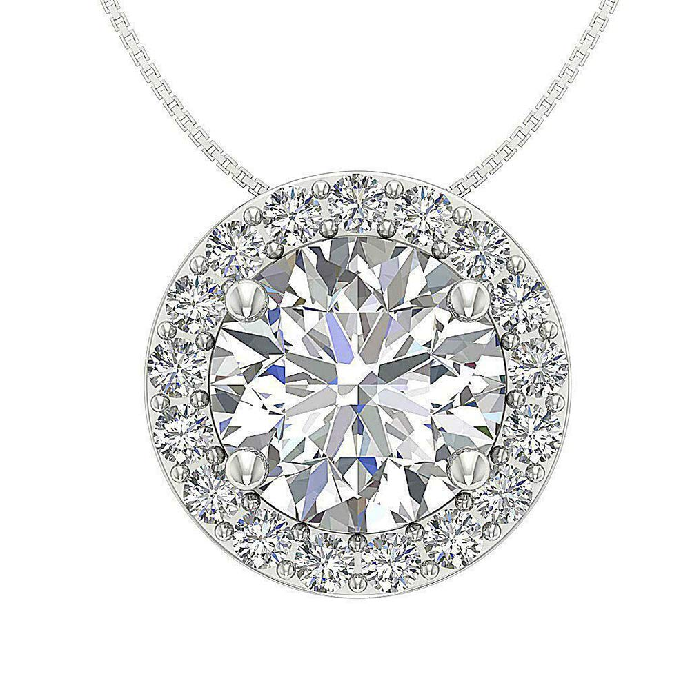 Solitaire Halo Pendant With 18 Chain 2.25 Ct Round Cut Simulated Diamond 14K White Gold Plated .925 Silver