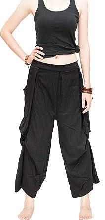 6680c694c49 BohoHill Loose Fit Cropped Harem Pants Oversize Pockets Drape Winglet  (Black)