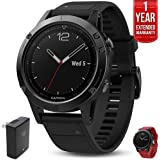 Garmin Fenix 5 Sapphire Multisport 47mm GPS Watch Black with Black Band (010-01688-10) with Universal USB Travel Wall Charger, Silicon Wrist Band for Garmin Fenix 5 Red & 1 Year Extended Warranty