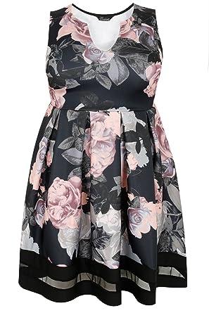 Plus Size Womens Black   Floral Print Skater Dress With Notch Neck   Mesh  Panel Size 2181bccf4