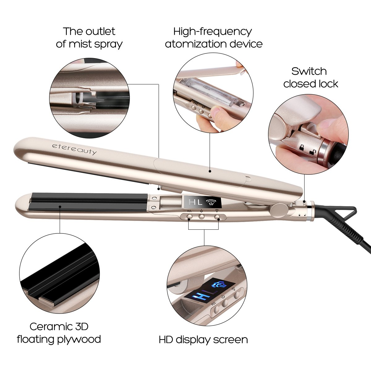 Professional Flat Iron Hair Straightener, Luxurious Gold Straightens & Curls with Adjustable Temp