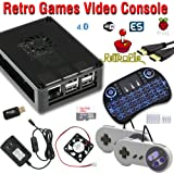 Raspberry Pi 3 based retro games emulation system retropie - 32GB edition with 2x snes type controllers, installed cooling fan and wireless keyboard/mouse