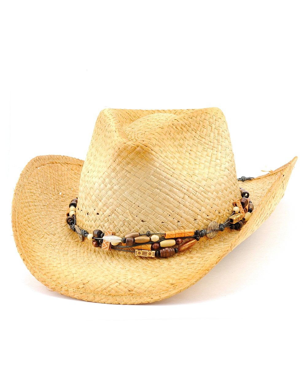 NYFASHION101 2-Toned Cowboy/Cowgirl Hat with Tribal Style Beaded Hat Band, S/M