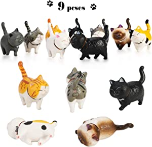 PHOGARY 9PCS Realistic Cat Figurines, Educational Kitty Figures Toy Set, Kitten Easter Eggs Cake Topper Christmas Birthday Gift for Cat Lover