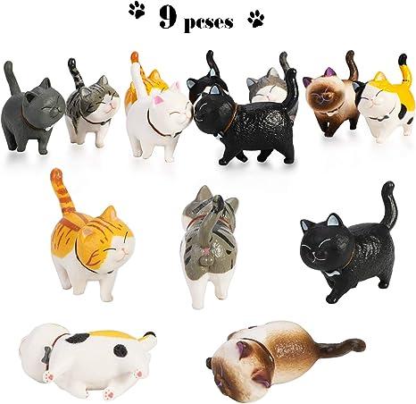 Phogary 9PCS Figuras de Gatos realistas, Set de Juguetes de Figuras de Gatitos, Gatito Huevos de