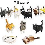 Phogary 9PCS Figuras de Gatos realistas, Set de Juguetes de Figuras de Gatitos, Gatito Huevos de Pascua Cake Topper…