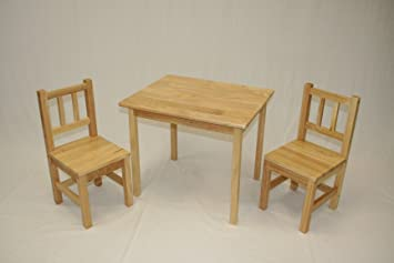 Amazon.com: eHemco Kids Table and 2 Chairs Set Solid Hard Wood ...