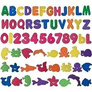 Trooer 60 Pcs Set Baby Bath Toys Foam Alphabet Letters Numbers Sea Life Toys Non Toxic Educational Toys Bath Letters Baby Bath Toys