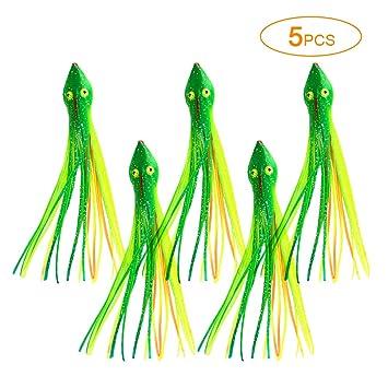 Explopur 5 Piezas 15cm Faldas de Calamar Pulpo Suave Trolling Se/ñuelos de Pesca Cebos para Agua Salada Agua Dulce