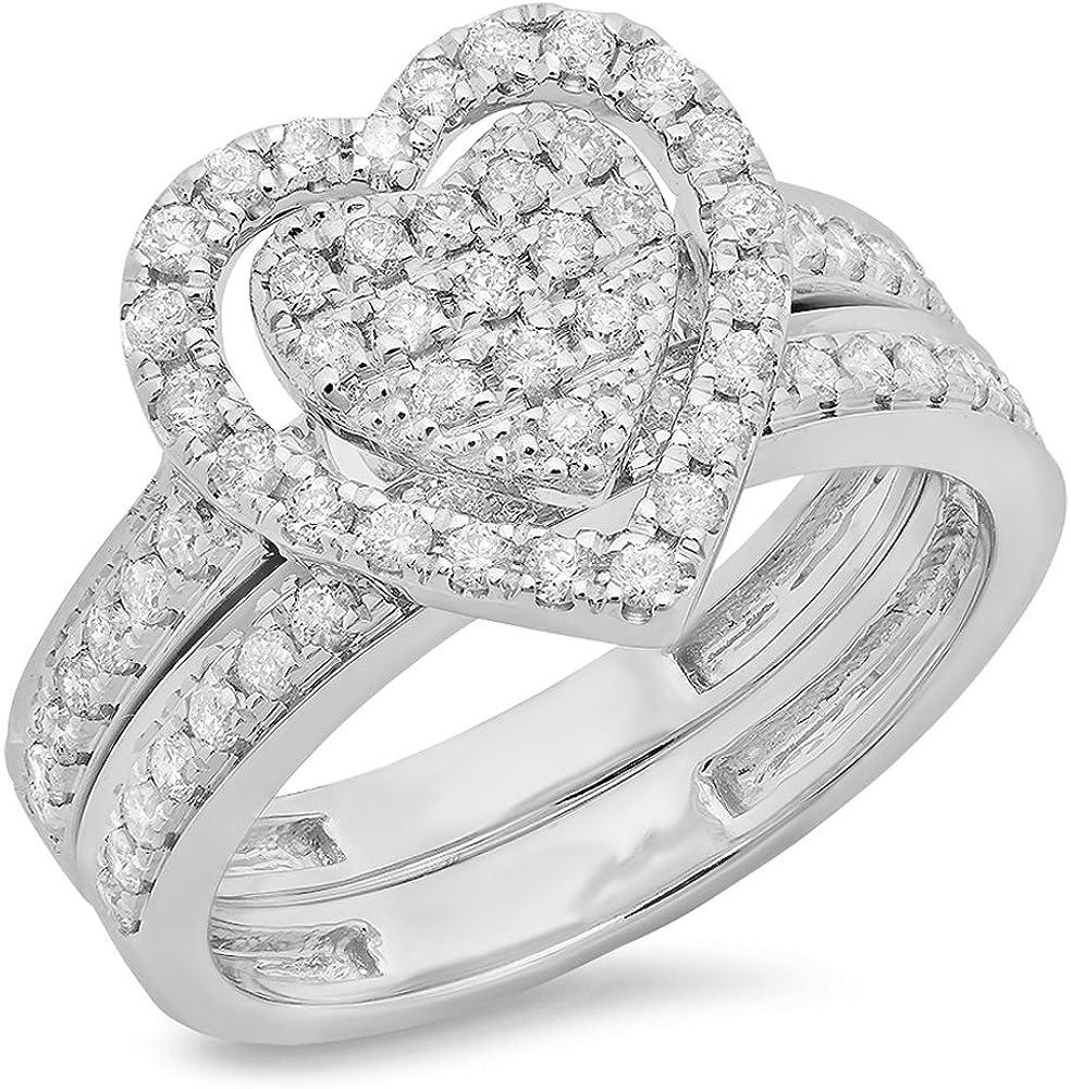 Dazzlingrock Collection 0.40 Carat (ctw) Round Cut Diamond Ladies Heart...