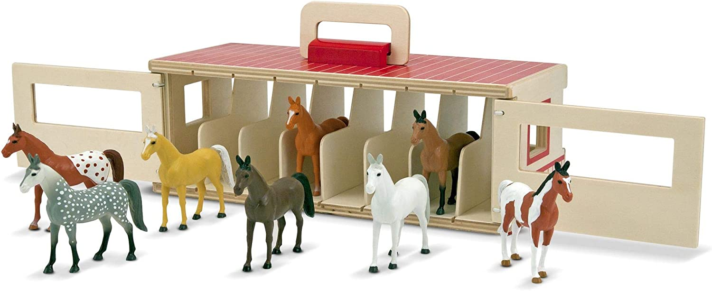 Melissa & Doug- Take-Along Show Horse Stables Establo de Caballos Juego, 3-7 Años, Multicolor (13744)