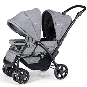 BABY JOY Double Baby Stroller, Foldable Double Seat Tandem Stroller with Adjustable Backrest, Push Handle and Footrest, Lockable Wheels, 5 Points Safety Belts (Gray)