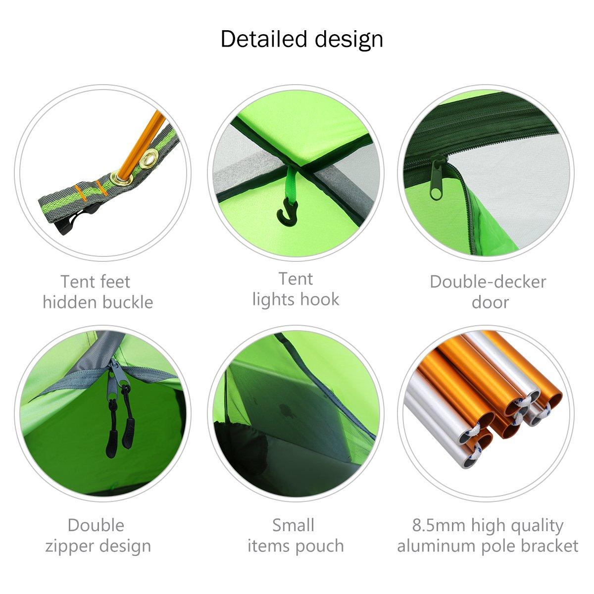 impermeable Tienda de campa/ña ligera para uso familiar de Lululion para 1-3 personas en color verde con dos capas